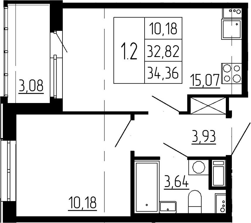 2Е-к.кв, 32.82 м²