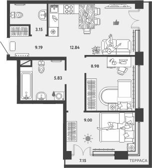 3-к.кв (евро), 72.82 м²