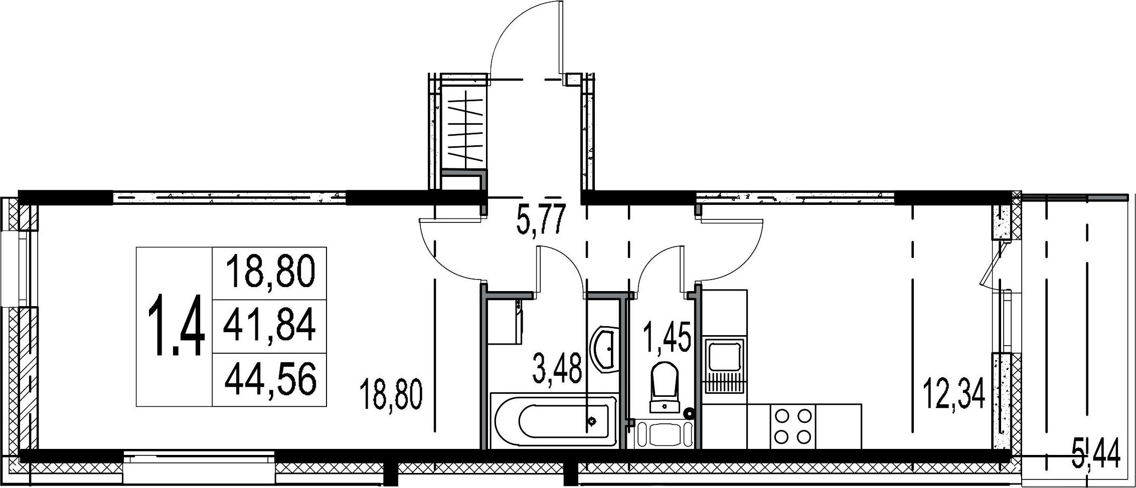 1-комнатная, 41.84 м²– 2