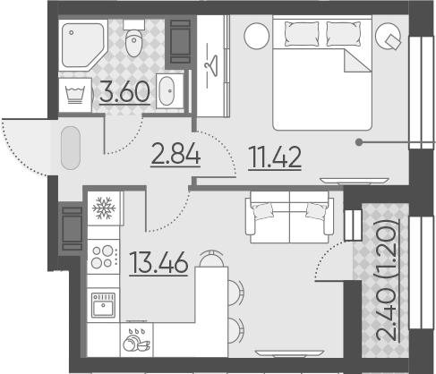 1-к.кв, 32.52 м²