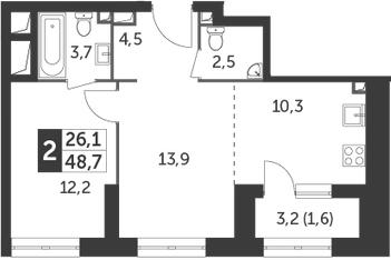 2Е-к.кв, 48.7 м²