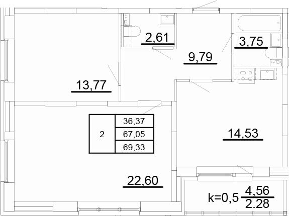 2-к.кв, 71.61 м²