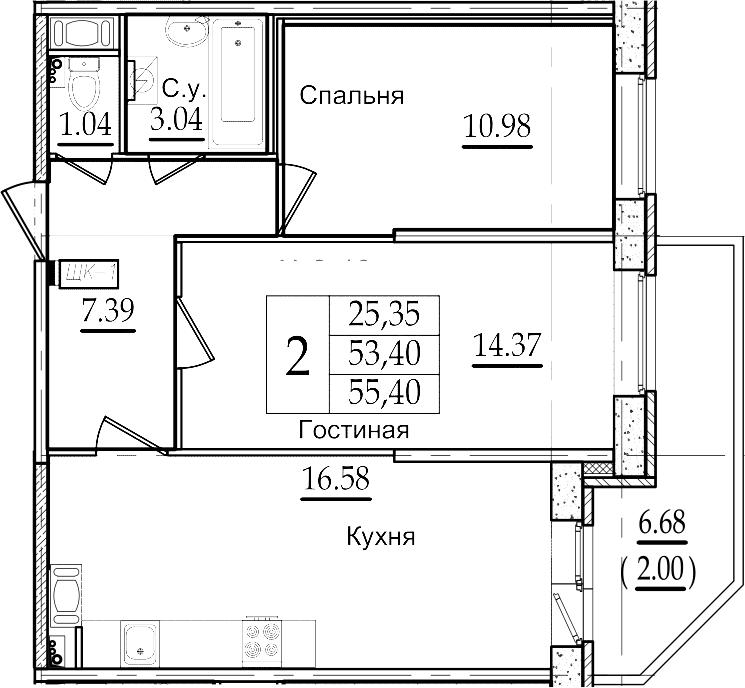 3Е-к.кв, 55.4 м²