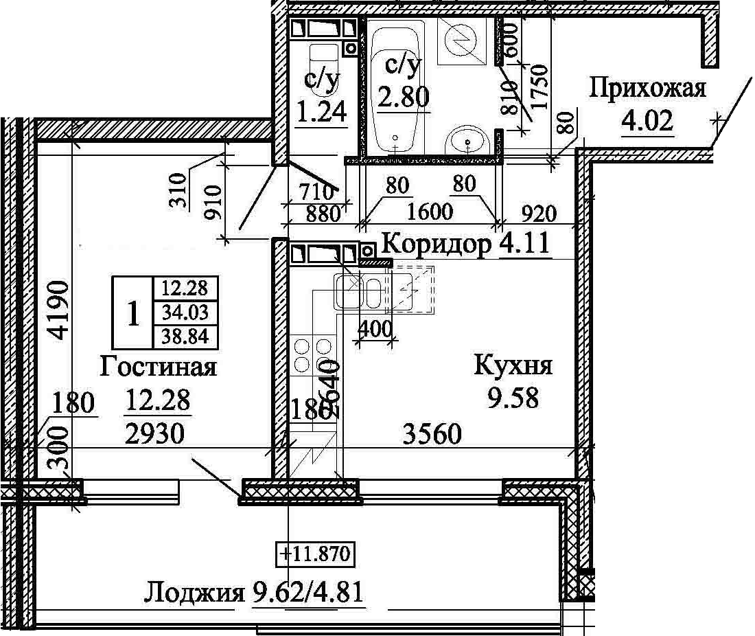1-комнатная, 38.84 м²– 2