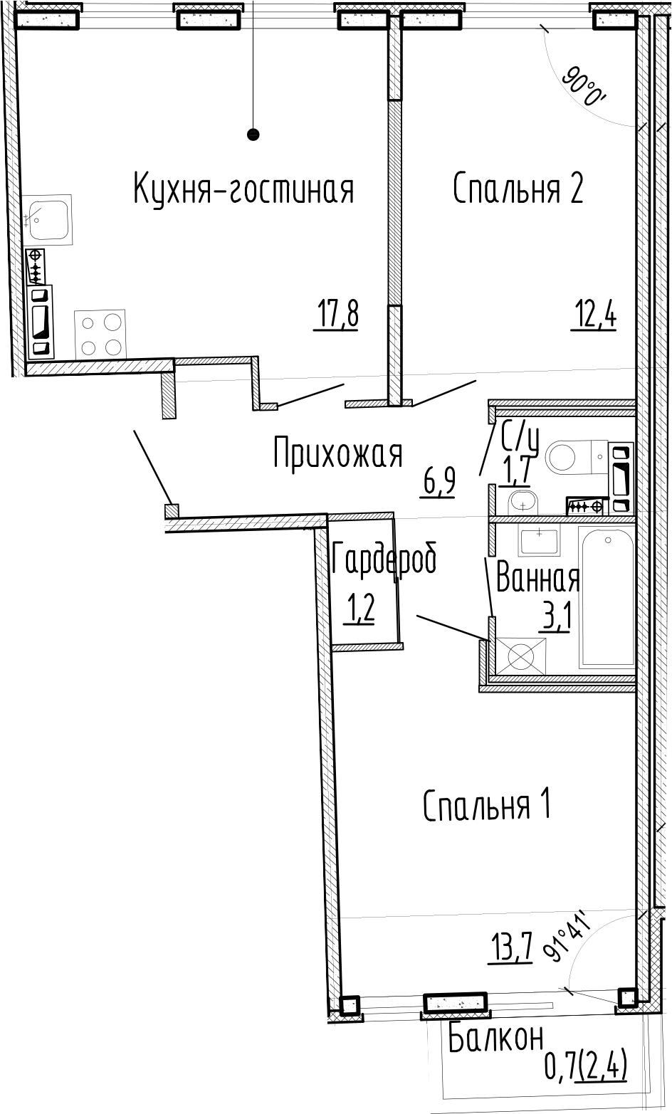3Е-к.кв, 56.8 м², 4 этаж