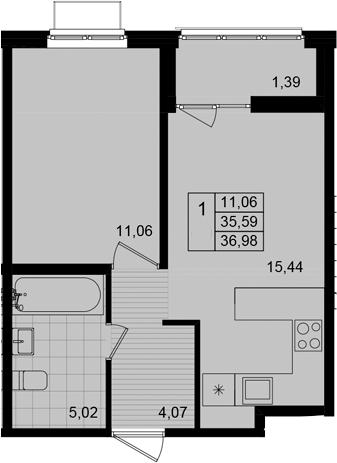2Е-к.кв, 36.98 м²