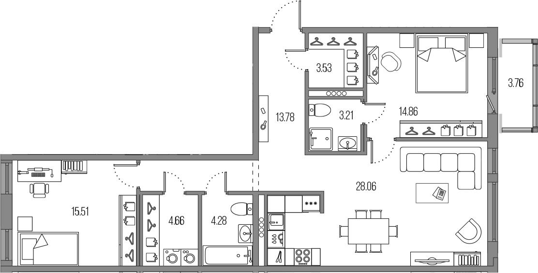 3Е-комнатная, 87.89 м²– 2
