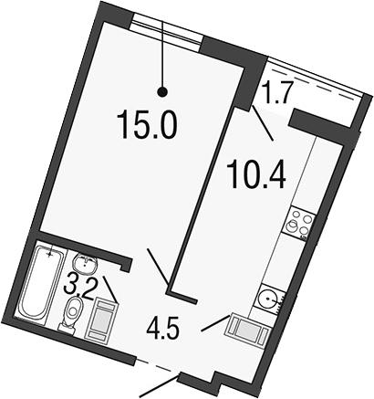 1-комнатная, 33.1 м²– 2