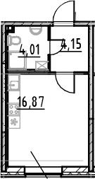 Студия, 25.03 м²