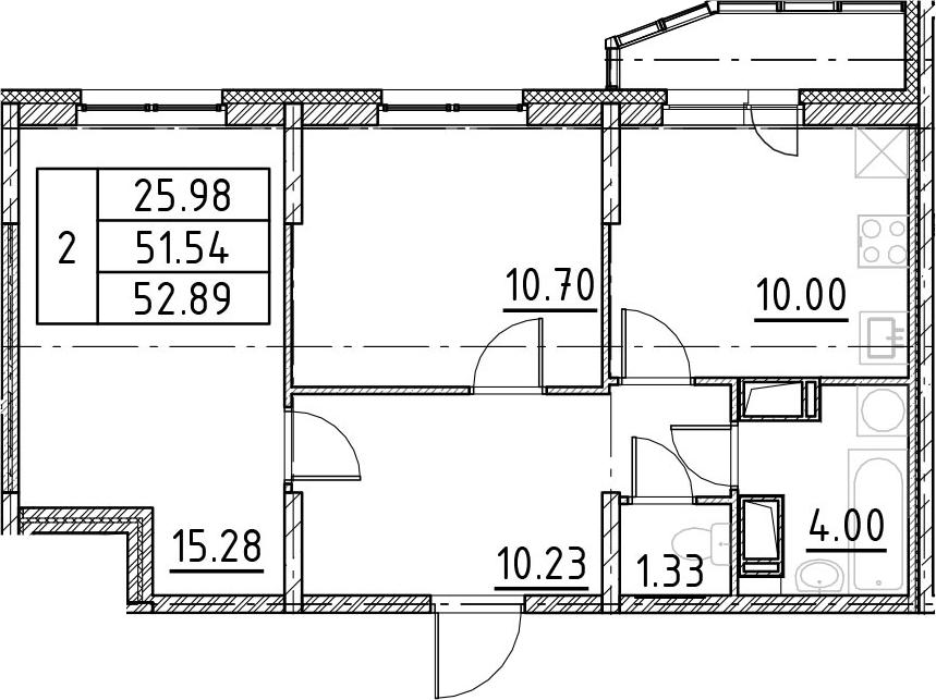 2-к.кв, 54.24 м²