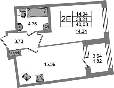 2Е-комнатная, 38.21 м²– 2