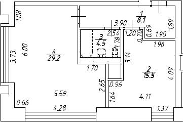 2Е-к.кв, 57.3 м², 8 этаж