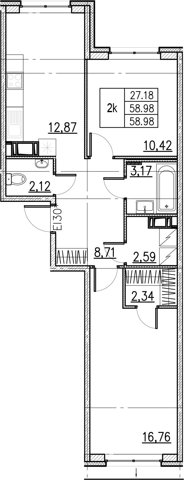 2-комнатная, 58.98 м²– 2