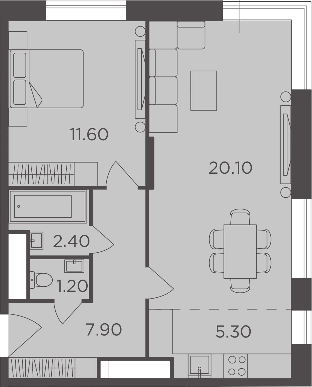2Е-к.кв, 48.5 м², от 13 этажа