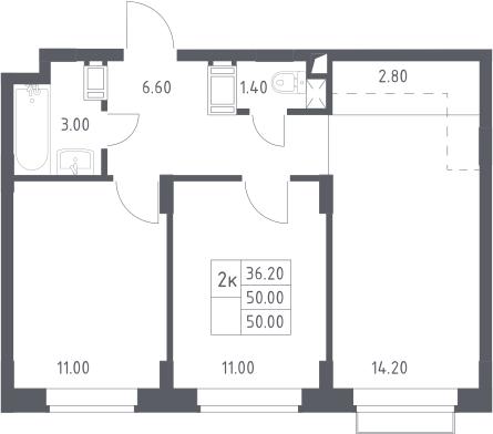 3Е-к.кв, 50 м²