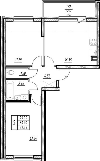 3-комнатная квартира (евро), 55.86 м², 2 этаж – Планировка