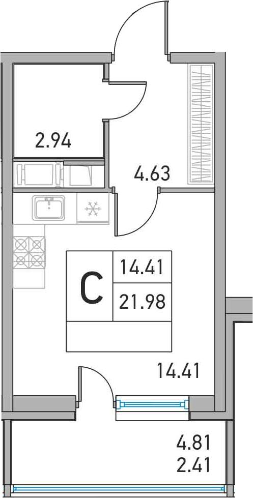 Студия, 21.98 м², 6 этаж – Планировка