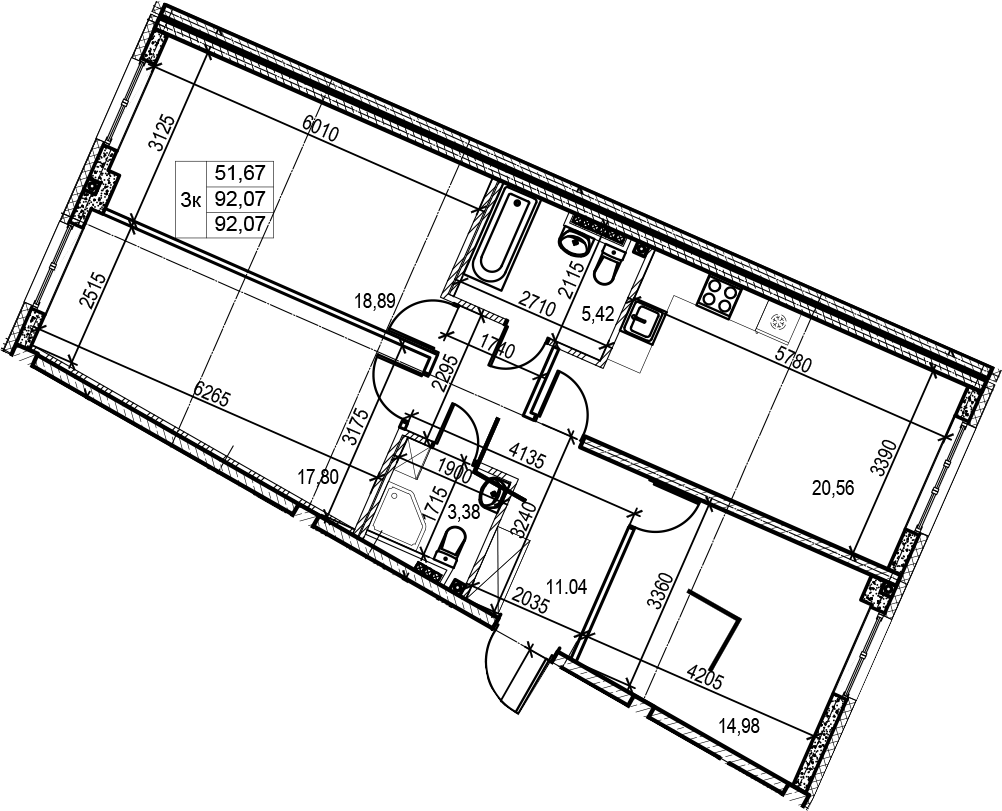 4Е-комнатная, 92.07 м²– 2