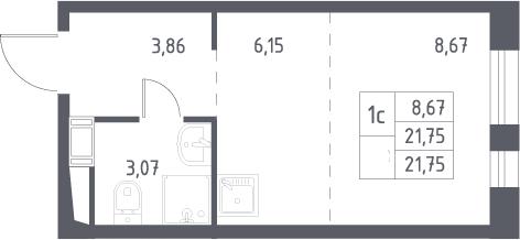 Студия, 21.75 м², 16 этаж