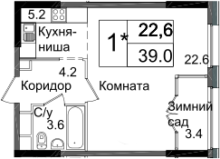 Студия, 39 м²– 2