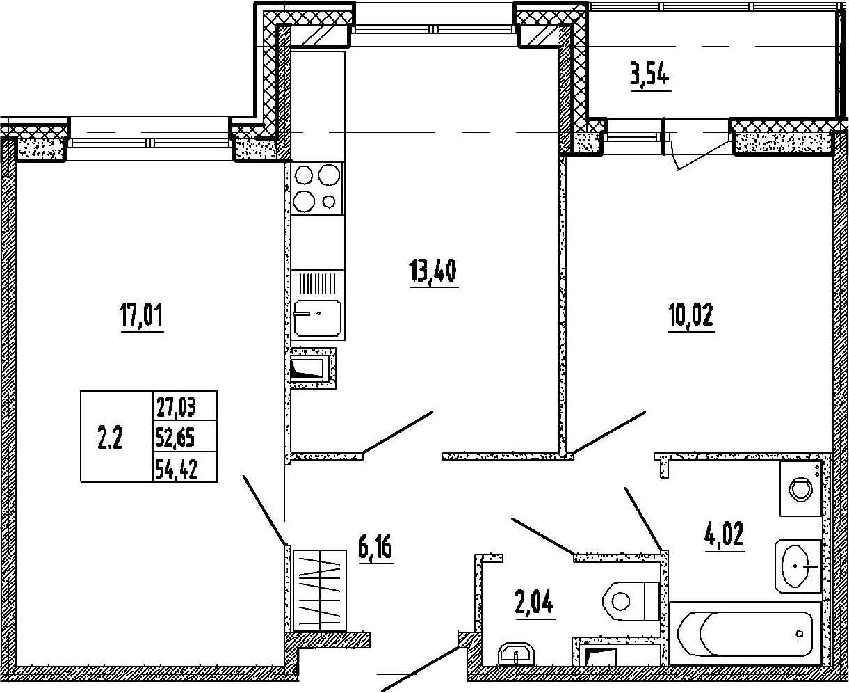 2-к.кв, 56.19 м²