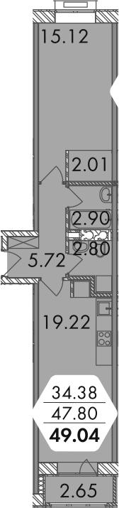 2-к.кв (евро), 50.42 м²
