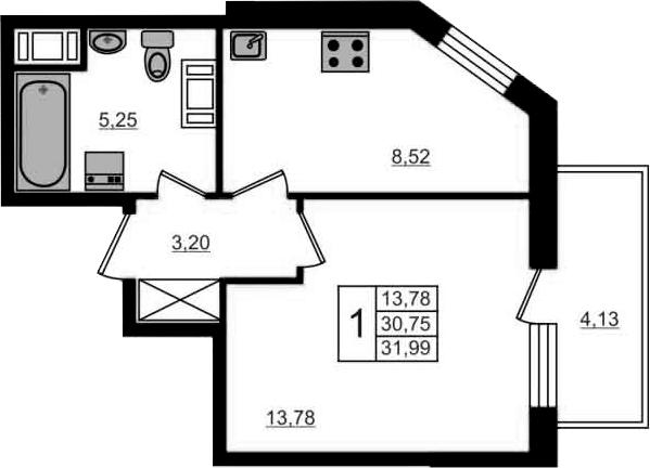 1-к.кв, 34.88 м²
