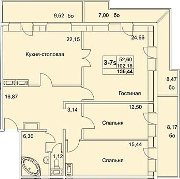4-к.кв (евро), 213.04 м²