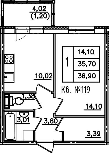 1-к.кв, 39.71 м²