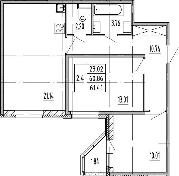 3Е-комнатная, 60.86 м²– 2