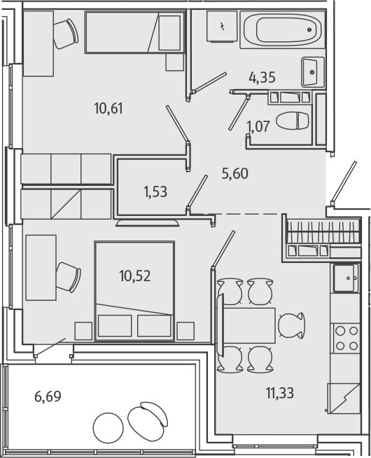 2-комнатная, 48.35 м²– 2