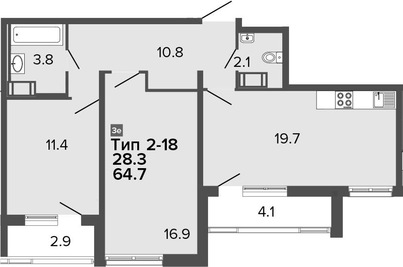 3Е-к.кв, 64.7 м²