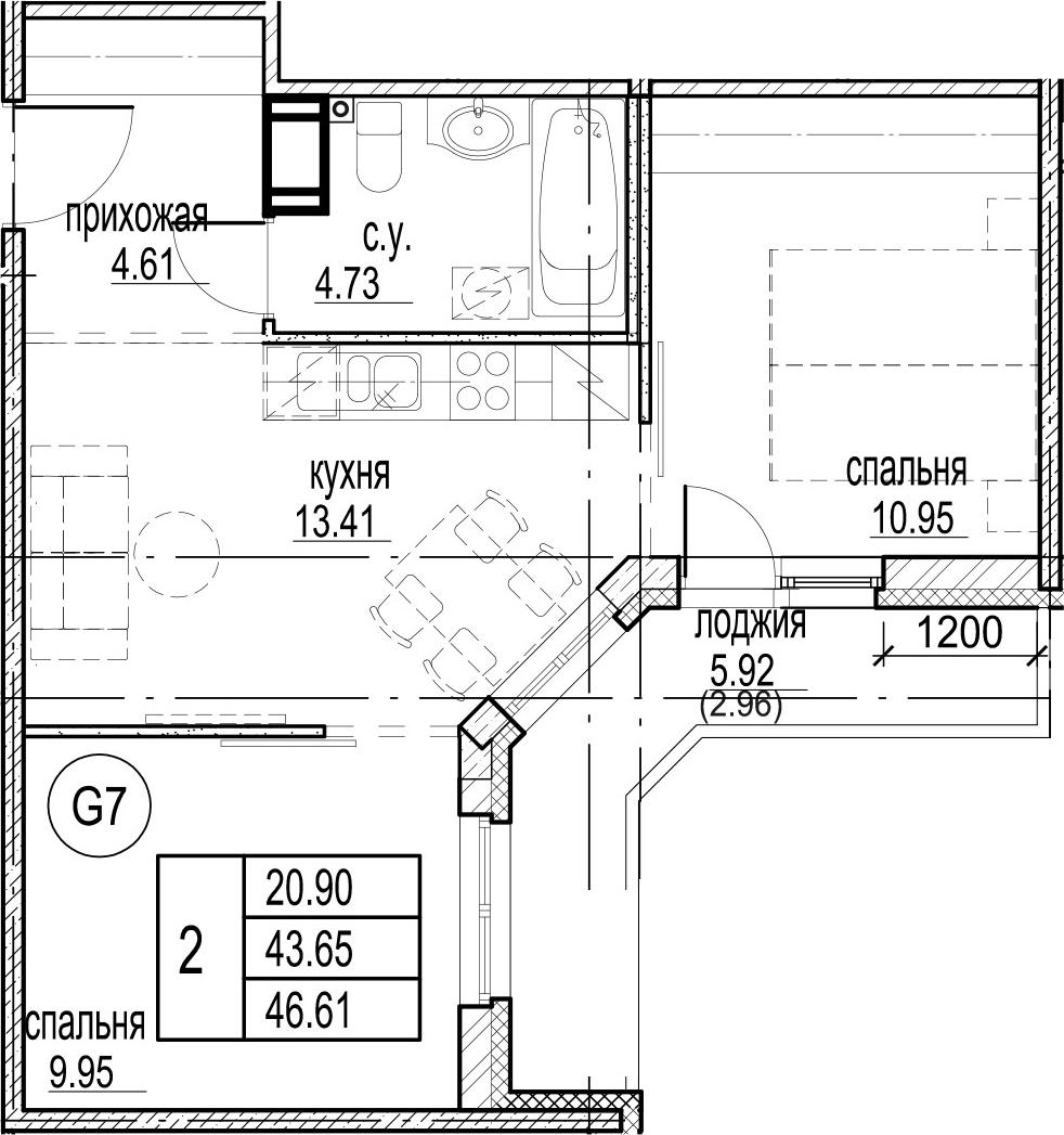 2-комнатная, 46.61 м²– 2