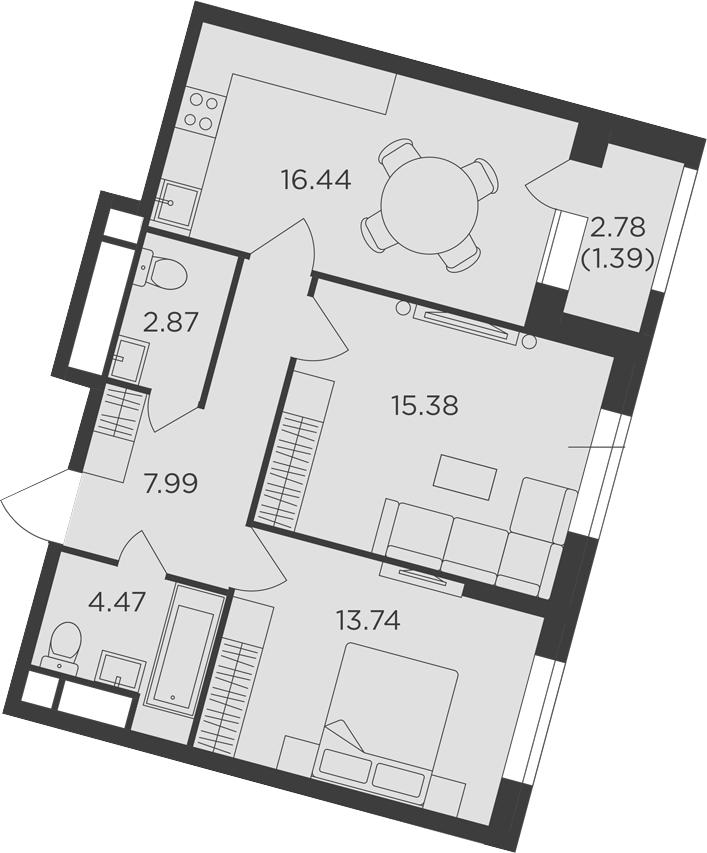 2-к.кв, 62.28 м²
