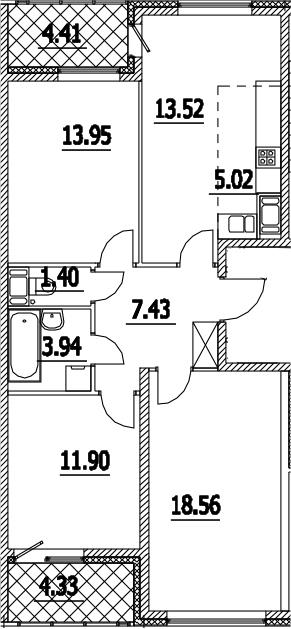 4Е-к.кв, 80.1 м², 15 этаж