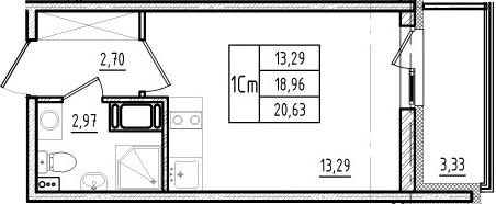 Студия, 18.96 м², 12 этаж