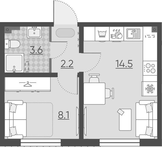 1-к.кв, 28.4 м², 1 этаж