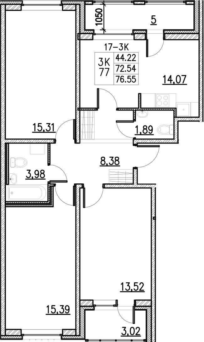 3-к.кв, 76.55 м²