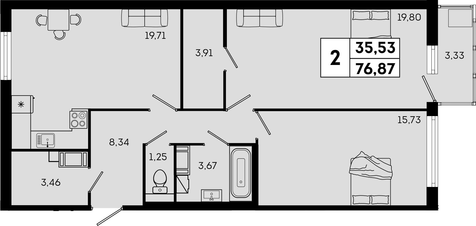 3Е-комнатная, 76.87 м²– 2