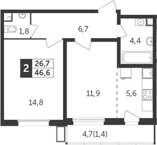 2Е-к.кв, 46.6 м², 7 этаж
