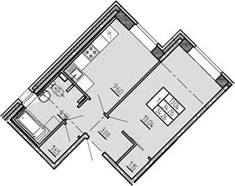 1-комнатная, 34.26 м²– 2