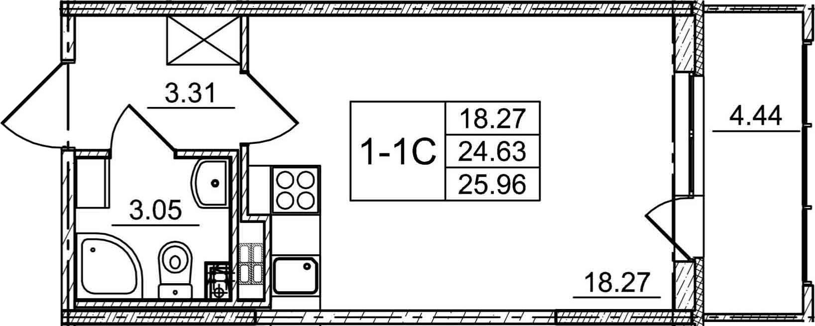 Студия, 29.07 м²