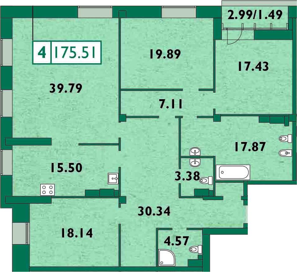 5Е-комнатная, 177.4 м²– 2