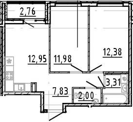 3Е-к.кв, 50.45 м², 18 этаж