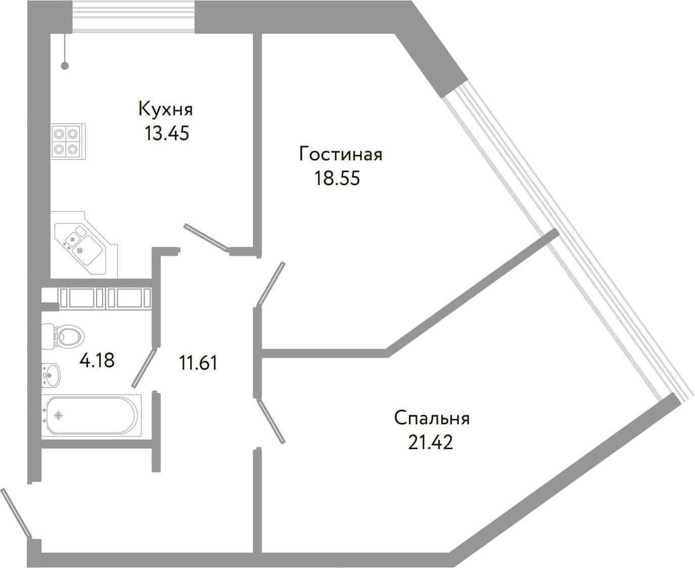 2-к.кв, 69.21 м²