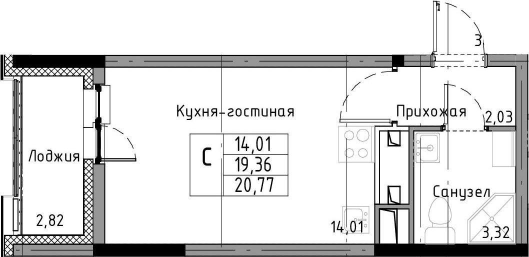 Студия, 20.77 м², от 10 этажа