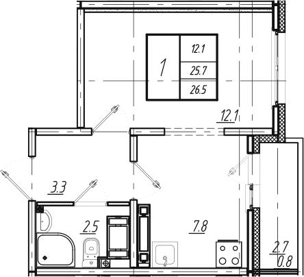 1-к.кв, 26.5 м², 25 этаж