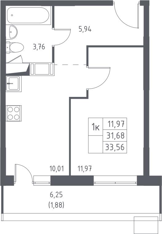 1-к.кв, 33.56 м², от 8 этажа