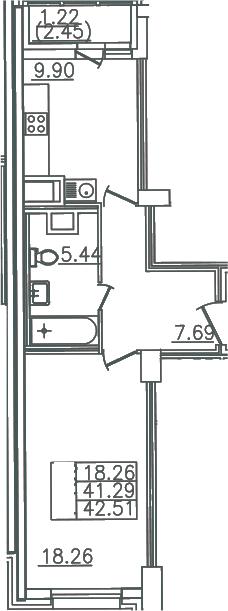 1-комнатная, 42.51 м²– 2