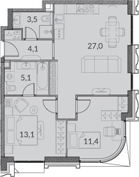 3Е-комнатная, 64.2 м²– 2
